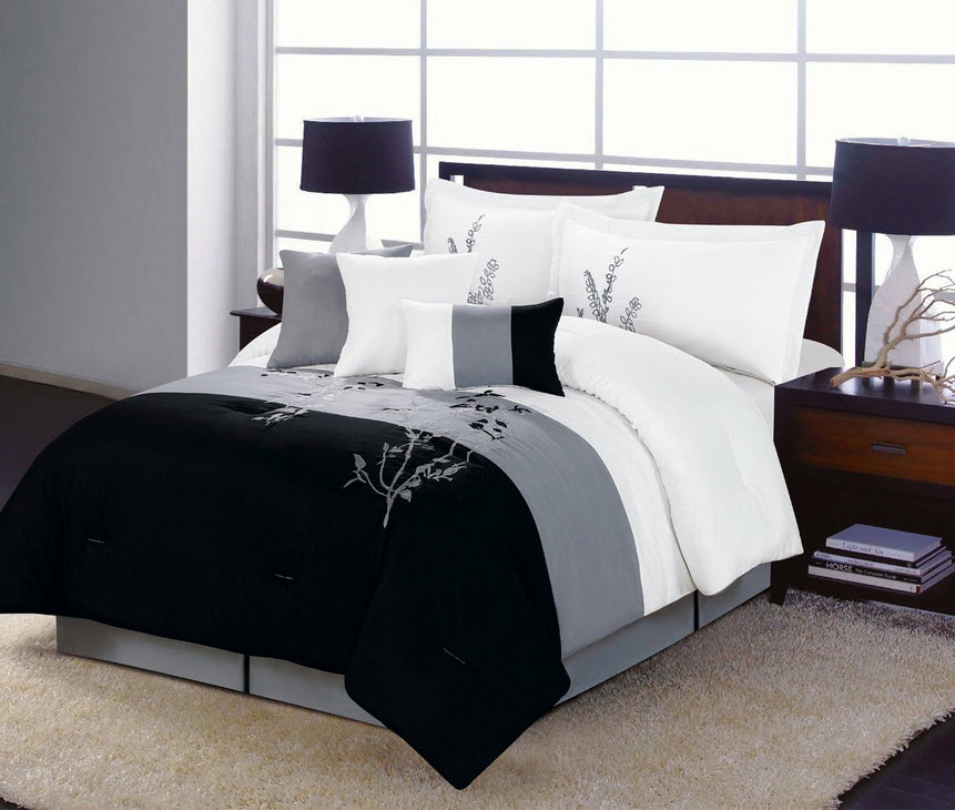 Black And Grey Bedspread Choozone