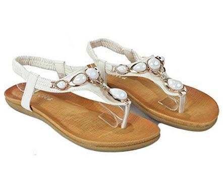 b7e243201c1 Pictured above  1-JJF Shoes Women Jewel Decor T-Strap Slingback Thong Dressy  Flat Sandals 2- Orly Shoes Women s Gold Metallic Woven T-Strap Glitter Mesh  ...