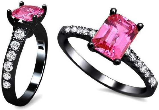 black and pink wedding rings