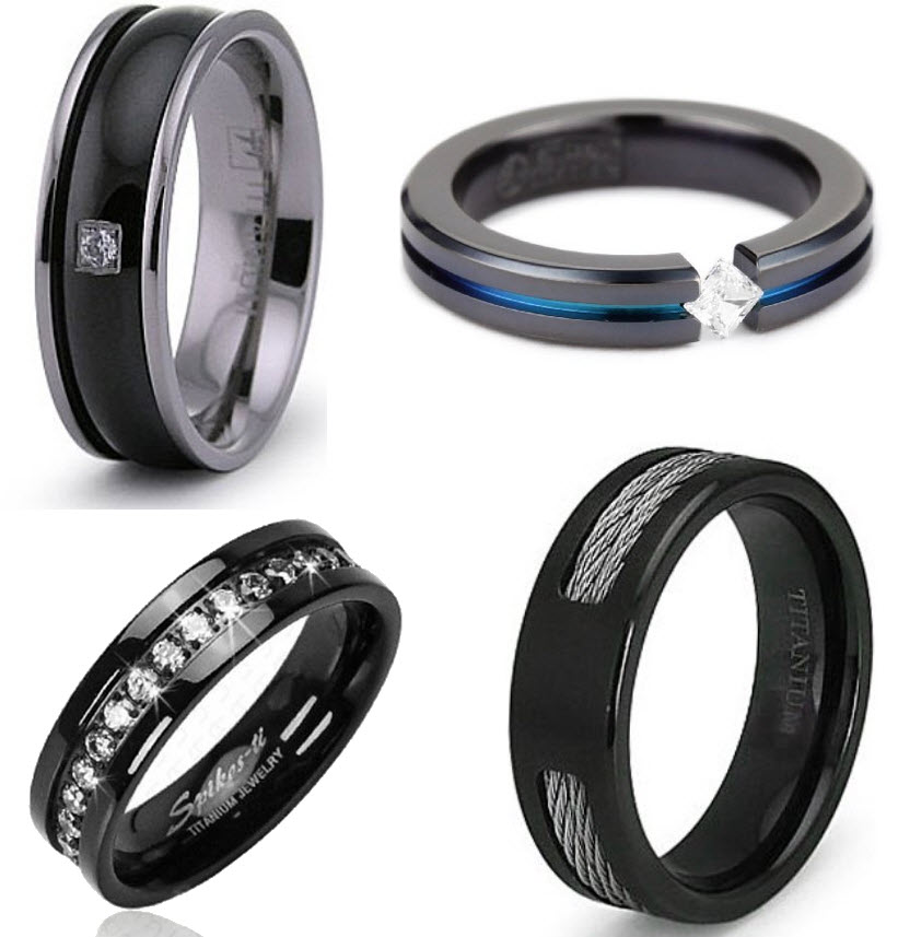 black titanium wedding rings for women