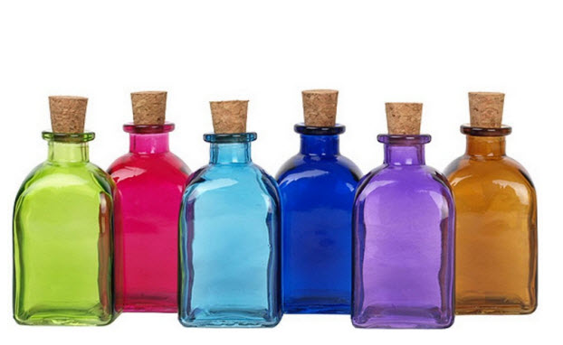Decorative glass bottles decorative painted glass bottle for Colored glass bottles with corks