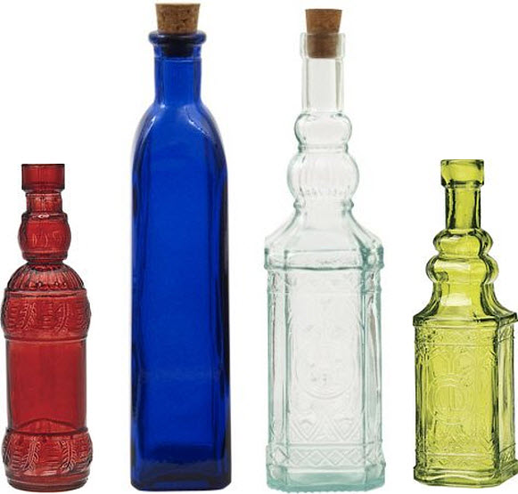 Decorative glass bottles with corks choozone for Colored glass bottles with corks