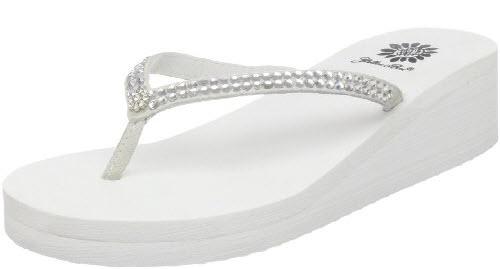 dressy white flip flops