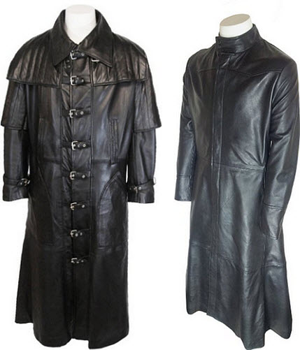 Mens full length leather coat