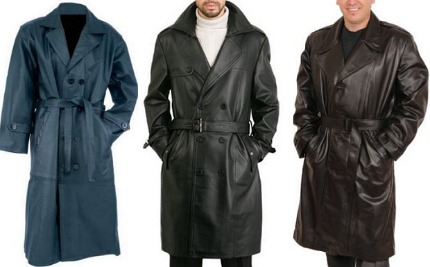 Mens leather trench coats