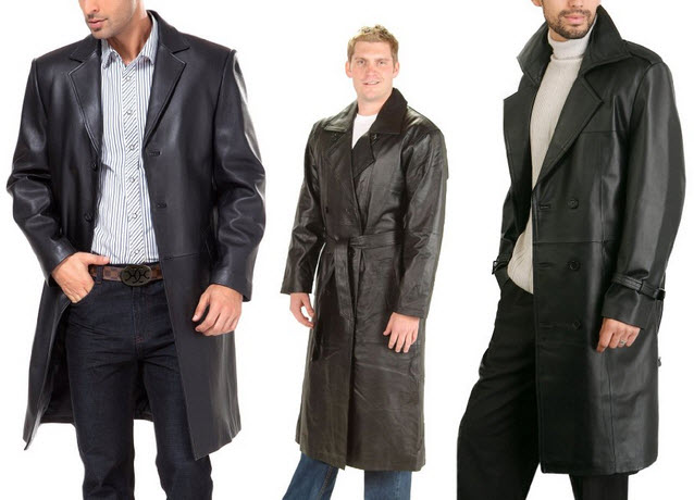 Mens long black leather coat