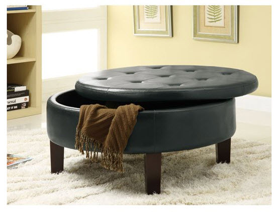 Round Upholstered Ottoman Coffee Table Choozone