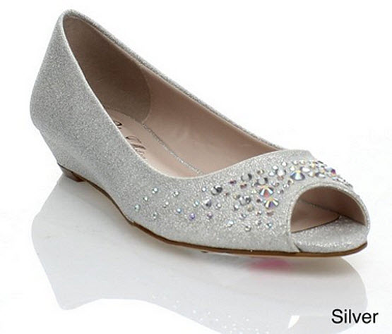 silver peep toe shoes low heel – ChoozOne