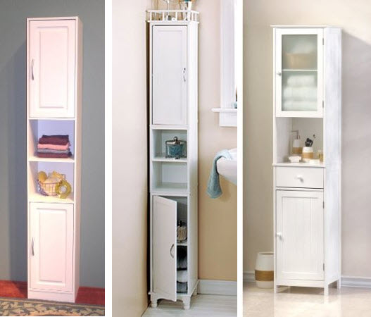 Slim storage cabinet by lcl home decor - Tall bathroom storage cabinets with doors ...