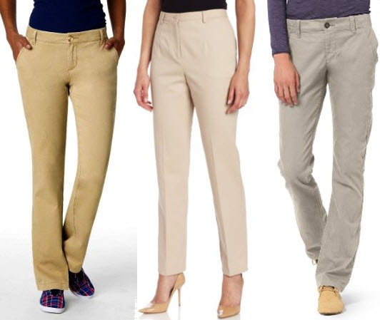 Womens Khaki Chino Pants - Fat Pants
