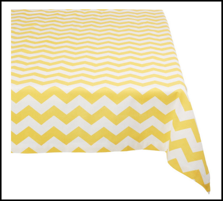 yellow chevron tablecloth