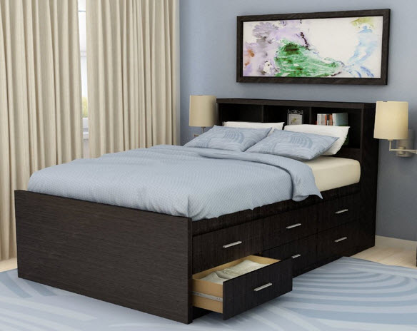 12 Drawer Queen Storage Bed