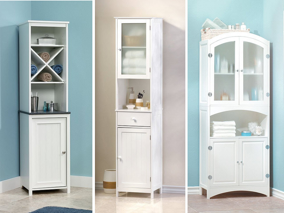 White Bathroom Storage Cabinets 2